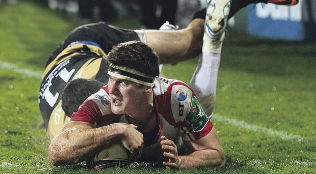 Robbie Diack goes over for a fine try early in the game, but Ulster failed to get the four-try haul they needed