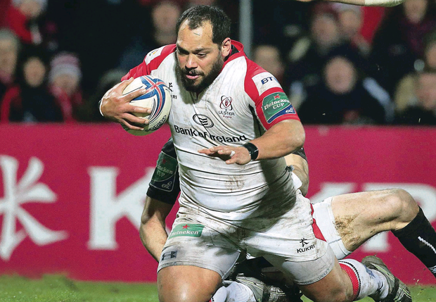 Ulster's John Afoa on his way to scoring a try