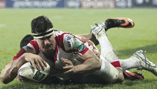 Ulster's Robbie Diack scores against Montpellier at Ravenhill last weekend