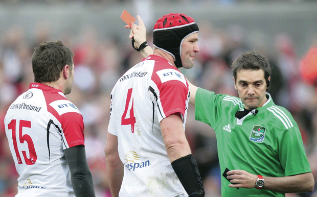 Off night: ref Garces red cards Jared Payne (15) to the dismay of captain Johann Muller (centre)