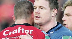 Top men:: Brian O'Driscoll congratulates Matt Giteau
