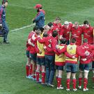 Team talk: Paul O'Connell leads the Munster huddle before the Heineken Cup quarter-final clash against Toulouse, which the Red Army went on to win 47-23