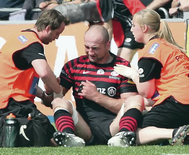 Major doubt: Steve Borthwick suffered a pectoral injury against Harlequins and could now miss the Heineken and Aviva finals