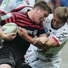 Final clash: England's Owen Farrell and Jonny Wilkinson go head to head in the Toulon player's last game in the United Kingdom