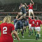 Richard Hibbard of the Lions throws the ball into a lineout