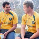 George Smith of the Wallabies talks to team mate Michael Hooper