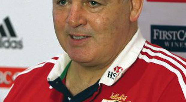 Coach Warren Gatland speaks to the media at a press conference