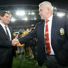 British and Irish Lions head coach Warren Gatland shakes hands with Australia coach Robbie Deans (left)