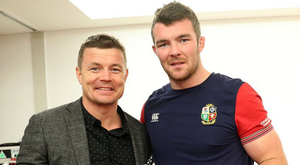 Getting shirty: Brian O'Driscoll hands Peter O'Mahony his Lions jersey