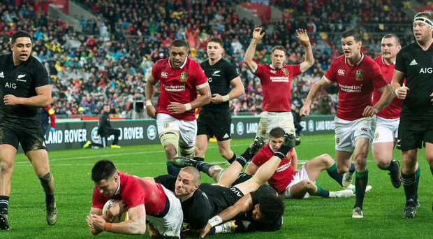 He's over: Conor Murray dives for the tryline to get the Lions back in the game