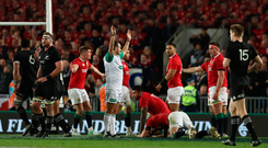 Controversy: Romain Poite awards a late penalty to the All Blacks before changing his mind after consultation with his colleagues