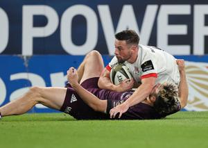 Turning point: Ulster's John Cooney scores a try that was later disallowed due to an offside