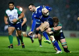 Making ground: Connacht's Sean O'Brien tries to hold up Leinster's Dave Kearney