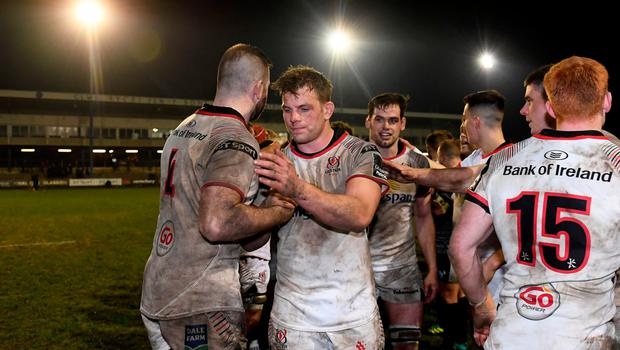 Job done: Jordi Murphy and Ulster team-mates celebrate their victory over Ospreys last season