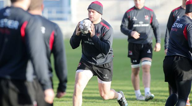 Lead by example: Captain Rory Best leads Ulster training yesterday ahead of Leinster showdown