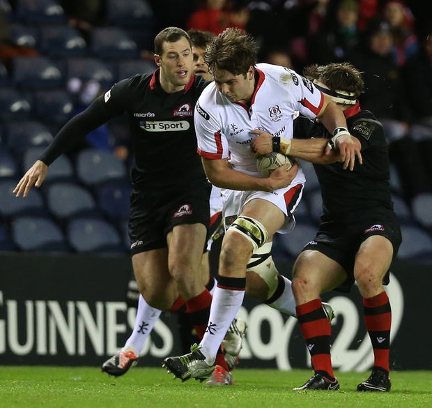 On the charge: Iain Henderson in a white shirt has been a rare sight this season