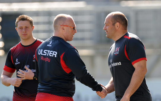 Shake on it: Neil Doak and Rory Best have a chat during the captain's run yesterday