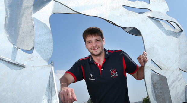 Art attack: Iain Henderson poses with a sculpture highlighting the abstract representation of rugby in Ulster at the Kingspan Stadium