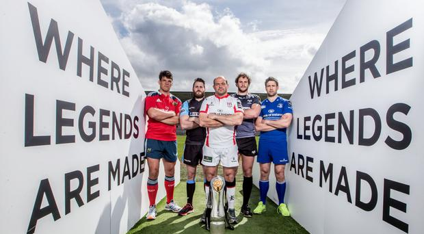 Up for the cup: Munster's Donncha O'Callaghan, Glasgow's Tommy Seymour, Rory Best of Ulster, Ospreys' Tyler Ardron and Leinster's Kevin McLaughlin at the Kingspan