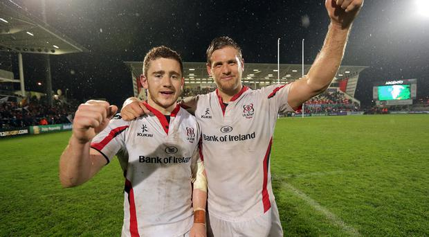 Double aim: Paddy Jackson and Chris Henry are both on the hunt for glory with Ulster and an Irish World Cup place