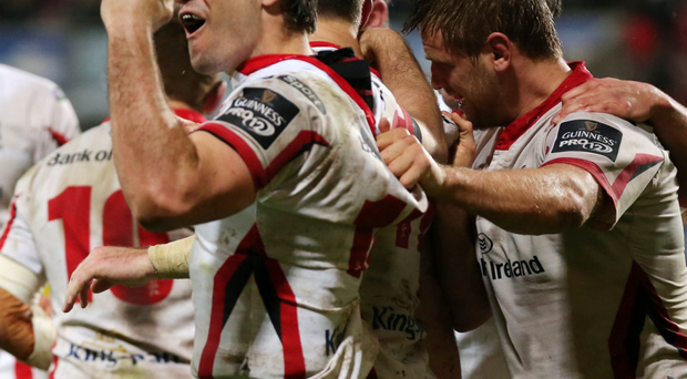 In-form man: Louis Ludik celebrates one of the three tries he has scored in the last four Ulster games