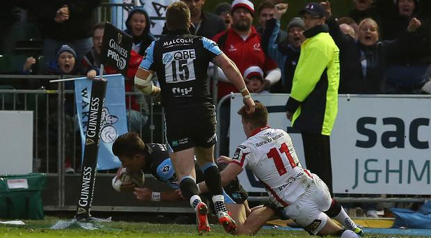 Sting in the tail: DTH van der Merwe of Glasgow scores winning try against Ulster