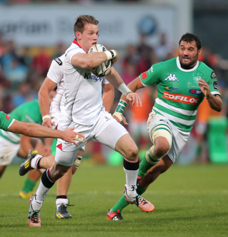 Trademark run: Craig Gilroy, who scored two of Ulster's tries last night, leaving the Treviso defence in his wake