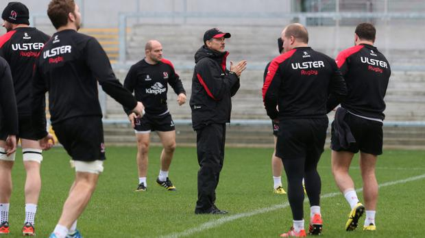 Man in the middle: Les Kiss directs his Ulster stars ahead of Edinburgh's visit to the Kingspan on Friday