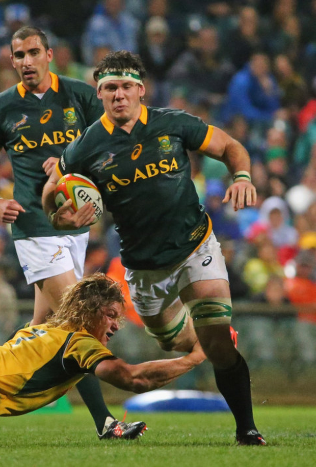 Running man: Ulster's new signing Marcell Coetzee on the attack for South Africa against Australia in Perth