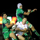 No way through: Tommy Bowe is stopped by Connacht pair Cian Kelleher and Ultan Dillane in Galway last night