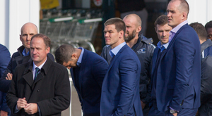 Rugby united: Former Ulster Director of Rugby David Humphreys joins Leinster star Jonathan Sexton as crowds gathered to pay their respects to former Munster coach Anthony Foley in Killaloe