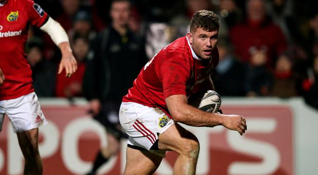 Double: Jaco Taute on way to scoring two tries for Munster last night