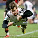 Going over: Louis Ludik dives across the whitewash to bag a try during Ulster's 24-18 triumph over Edinburgh at the Kingspan