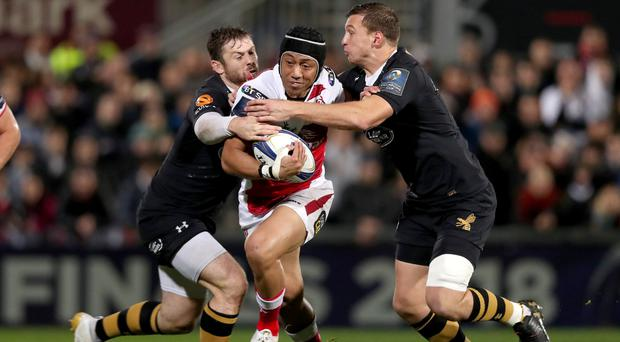 Christian Leali'ifano in action against Wasps.