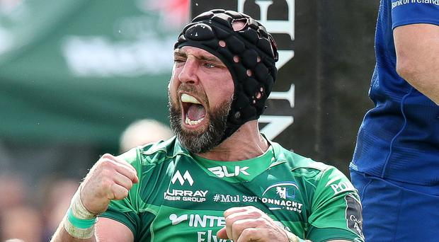 Connacht cheer John Muldoon celebrates Kieran Marmion's try against Leinster