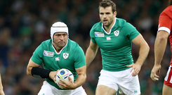 Old pals: Rory Best and Jared Payne in action during the 2015 World Cup
