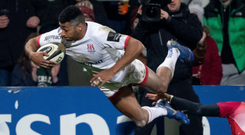 Robert Baloucoune goes over for an Ulster try at Kingspan
