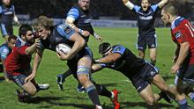 Gray day: Munster fail to prevent Glasgow's Jonny Gray getting over for the decisive try