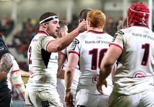 Setting standards: Rob Herring after bagging his first try against Zebre