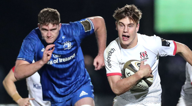In at the deep end: Ethan McIlroy pursued by Leinster's Fergus McFadden at the RDS on Friday night