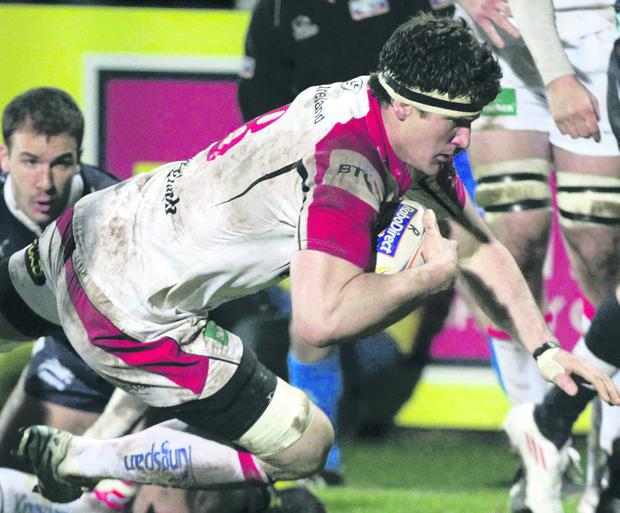 Robbie Diack scores one of his two tries for Ulster on Friday night