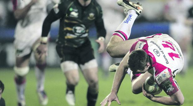 Tommy Bowe sustained one of a long line of injury problems for Ulster in the clash with Northampton