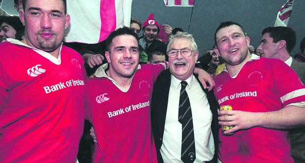Gary Leslie celebrates Ulster's European Cup win in 1999 with (from left) Justin Fitzpatrick, Allen Clarke and Ken Maginnis