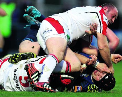 RaboDirect PRO12 30/3/2013 Leinster vs Ulster Leinster's Richardt Strauss and Rory Best of Ulster Mandatory Credit ©INPHO/James Crombie