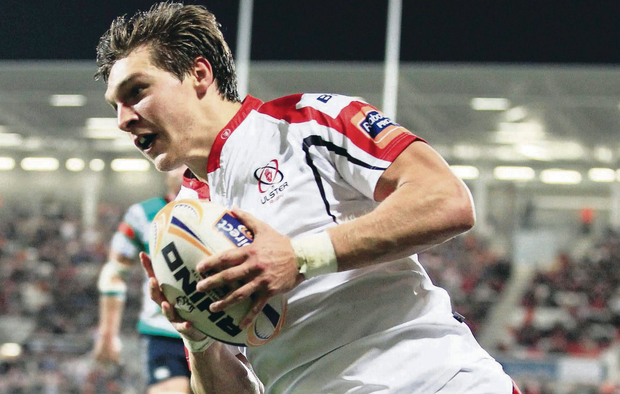 Try that: Rising star Michael Allen runs in Ulster's second try against Treviso last week at Ravenhill