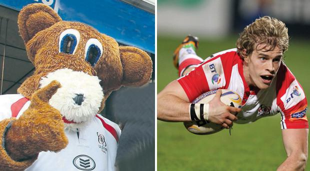 Then and now: winger Andrew Trimble has been rushed back into the Ulster team, so someone else will have to play mascot Sparky