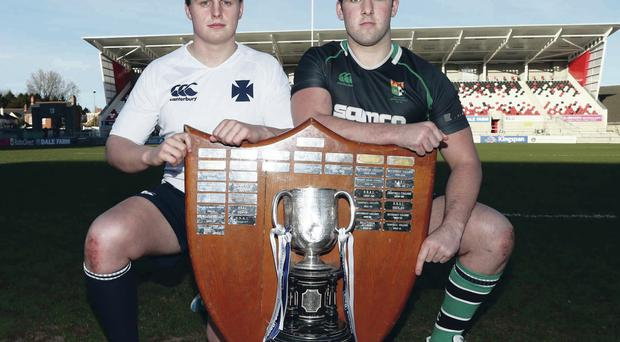 Methody's Michael Lagan (left) and Sullivan Upper's Ross Todd go head to head at Ravenhill this afternoon