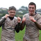 Thumps up: Try-scorers Jack Chapman and Archie McAlpine