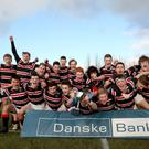 Just champion: Banbridge Academy lift the Danske Bank Schools' Trophy as they celebrate their 15-0 triumph over Belfast High School in the decider at Roughfort