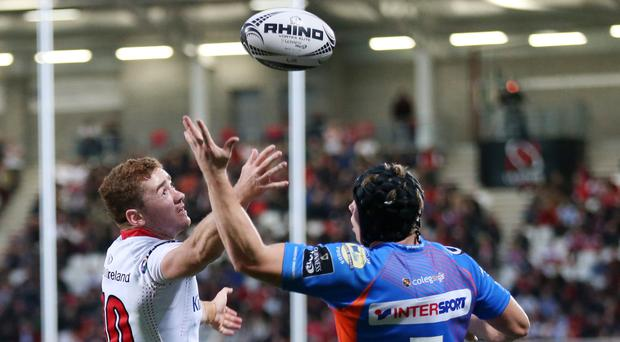 On the ball: Paddy Jackson on top form against Scarlets